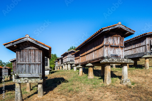 Obraz Horreos (granaries) of A Merca, the highest concentration of horreos in Galicia, Spain - fototapety do salonu