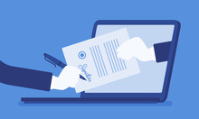 Electronic Signature On Laptop. Business Esignature Technology, Digital Form Attached To Electronically Transmitted Document, Verification Of Intent To Sign Agreement, Legal Deal. Vector Illustration