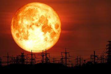 super milk blood moon back on silhouette electric pole on night sky