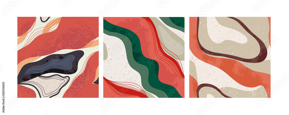 Fototapeta Set of three hand drawn abstract contemporary seamless patterns. Smooth lines. Stone texture. Modern trendy colorful illustration in vector. Marbleized effect. Every pattern is isolated