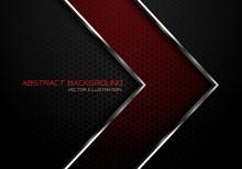 Abstract Red Silver Line Arrow On Dark Grey Hexagon Mesh Design Modern Luxury Futuristic Background Vector Illustration.