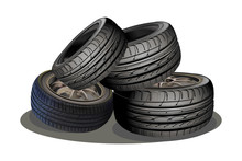 Car Wheels Tires Stack Vector Illustration Isolated On White