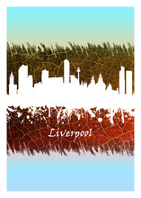 Liverpool Skyline Blue And White