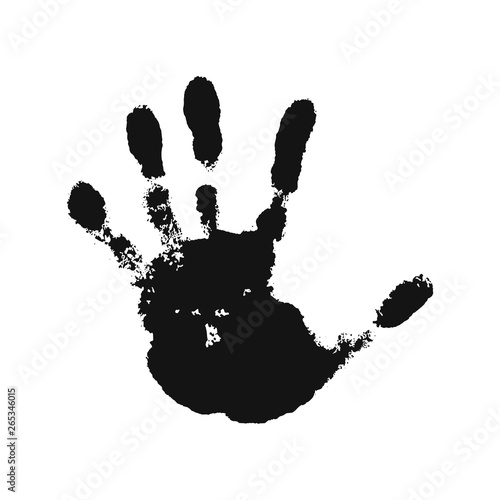 Fototapety, obrazy: Hand print isolated on white background. Black paint human hands. Silhouette of child, kid, young people handprint. Stamp fingers and palm shape. Abstract design. Grunge texture. Vector illustration