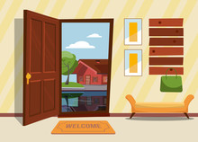 The Interior Hallway With The Open Door , A Coat Rack With Lady Bag. Green Trees And Country House Reflecting In The Lake Outside. Sunny Summer Weather. Flat Cartoon Style Vector Illustration.