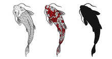 Koi Fish Vector Tattoo By Hand...