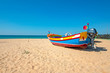 Fishers boat on the beach in Armacao de Pera in the Algarve Portugal