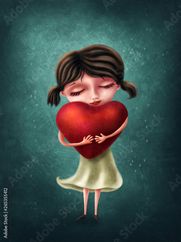 Fotomural Cute girl with heart