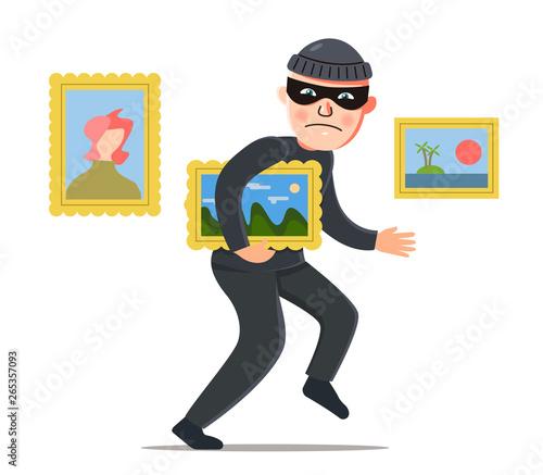 thief steals a picture Canvas Print