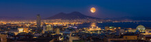 Full Moon Rises Above Mount Vesuvius, Naples And Bay Of Naples, Italy