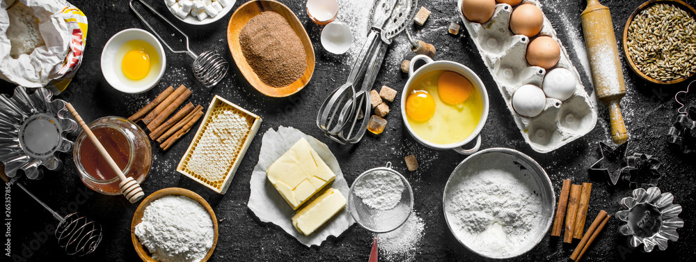 Fototapety, obrazy: Baking background. Flour and various ingredients for dough.