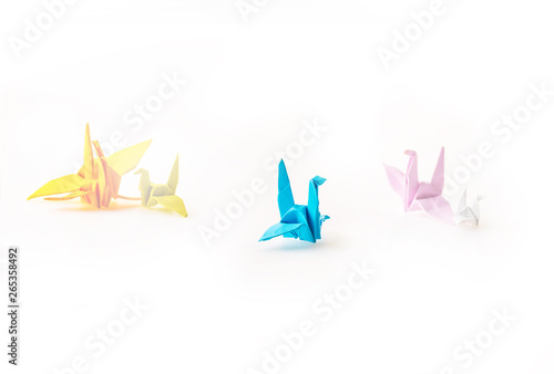 Photo Stands Illustrations Origami birds paper on white background, seclective focus on the blue bird, stand out concept