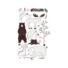 Autumn Forest Themed Vector Illustration. Woody Landscape Elements Bear Hare Squirrel Moose Deer Creatures T-shirt Graphics. Woodland Childish Print In Scandinavian Decorative Style. Cute Forest