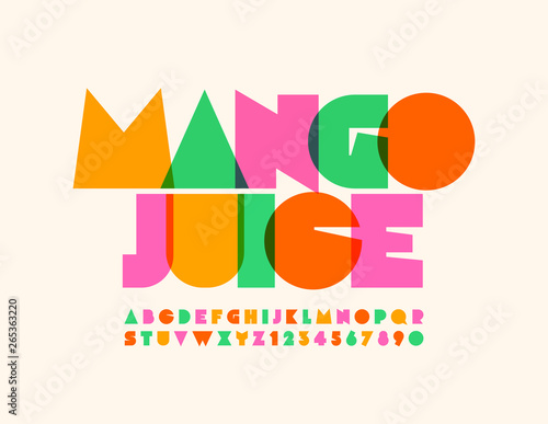 Vector bright emblem Mango Juice with transparent creative Font. Colorful Uppercase Alphabet Letters and Numbers - 265363220