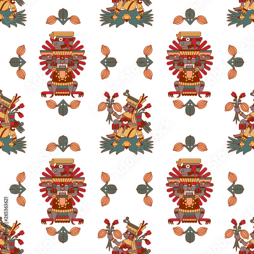Stampa su Tela Aztec tribal seamless pattern for chocolate package design.