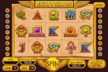 EGYPT Style Casino Slot Machine Game. Vector Complete Interface Slot Machine And Buttons On Separate Layers.