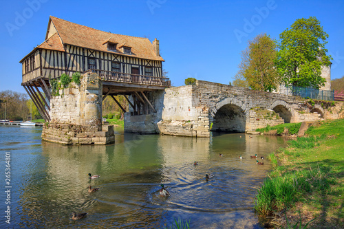 Vászonkép Old mill on bridge Seine river, Vernon, Normandy, France
