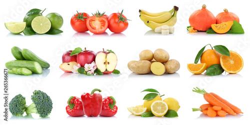 Poster de jardin Singapoure Früchte Obst Gemüse Sammlung Apfel Äpfel Tomaten Orangen Bananen Farben Freisteller freigestellt isoliert