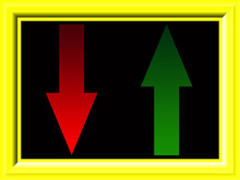 Red And Green Arrows Down And Up In Gradient Colors With Yellow Frame On A Black Background