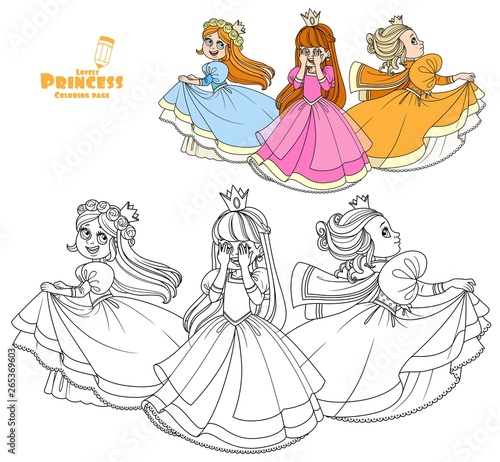 Cuadros en Lienzo  Three very cute princesses playing hide and seek color and outlined for coloring