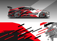 Sport Car Decal Wrap Design Vector. Graphic Abstract Stripe Racing Background Kit Designs For Vehicle, Race Car, Rally, Adventure And Livery. Eps 10
