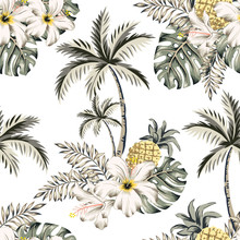 Tropical Hibiscus Flowers, Pineapples, Monstera Palm Leaves Bouquets, Palm Trees, White Background. Vector Seamless Pattern. Jungle Illustration. Exotic Plants. Summer Beach Design. Paradise Nature