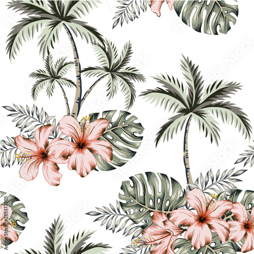 fototapeta na lodówkę Tropical hibiscus flowers, monstera palm leaves bouquets, palm trees, white background. Vector seamless pattern. Jungle illustration. Exotic plants. Summer beach floral design. Paradise nature