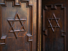 Star Of David On Wooden Doors, Pinkas Synagogue; Prague, Czech Republic