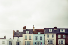Row Houses In Various Colours; England