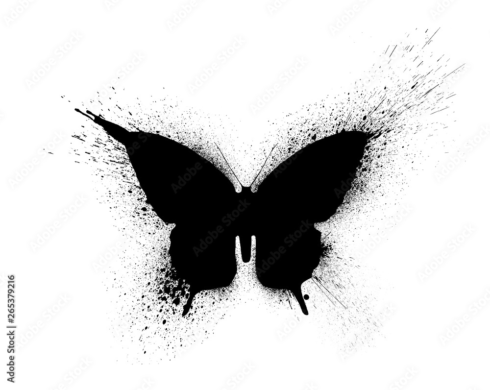 Fototapeta Black silhouette of a butterfly with paint splashes and blots, isolated on a white background.