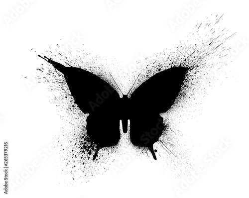 Keuken foto achterwand Vlinders in Grunge Black silhouette of a butterfly with paint splashes and blots, isolated on a white background.