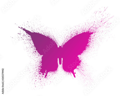 Photo sur Toile Papillons dans Grunge Butterfly silhouette with paint splashes and blots with a beautiful bright gradient, isolated on a white background.