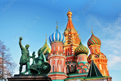 Monument to Minin and Pozharsky and Saint Basils Cathedral on the Red Square in Moscow