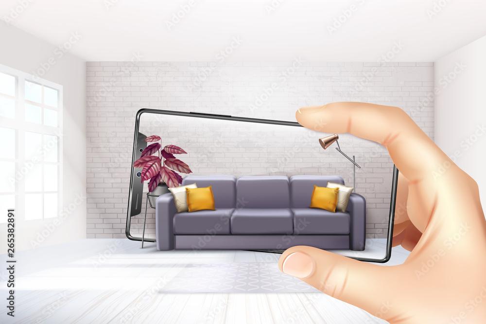 Fototapeta Smartphone Augmented Reality Composition