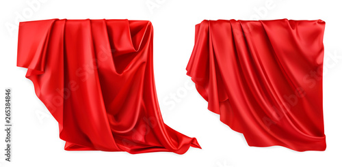Fotografía Red curtain vectorized image. Drapery fabric 3d realistic vector