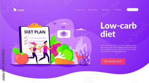 Tiny people fit couple training, nutrition control, diet plan and vegetables. Weight loss diet, low-carb diet, healthy meal food concept. Website homepage header landing web page template.