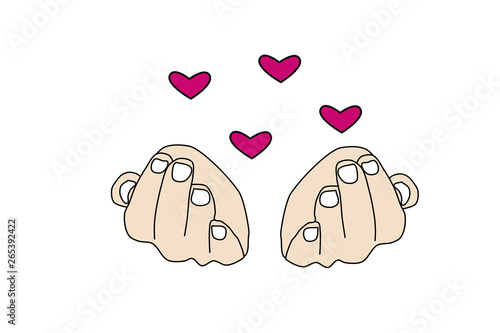 Fotografía  Vector Pink hearts over the hands. Symbol of love and tenderness