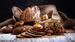 Leinwandbild Motiv Assortment of baked bread and bread rolls on rustic white bakery table background