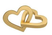 Golden Heart Outline Shapes Isolated On White Background. 3D Illustration.