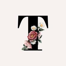 Floral Letter T Font