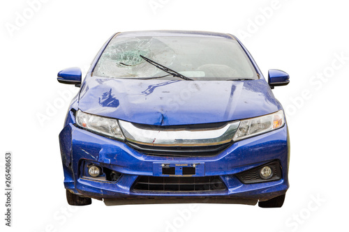 Tuinposter Snelle auto s blue car crash from accident,car destroyed isolated on white background,insurance concept.