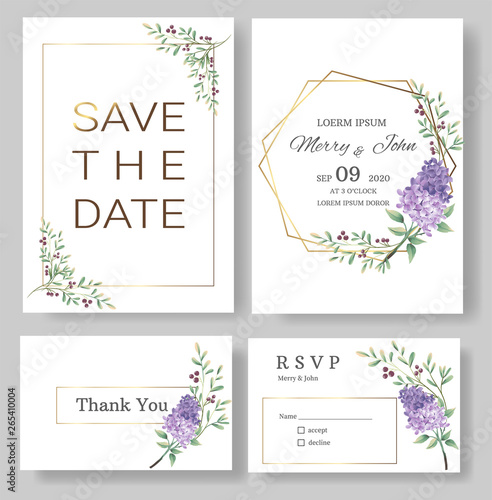 Fototapety, obrazy: Set of Wedding invitation Card,save the date thank you card,rsvp with floral   and leaves, gold border, watercolor style for printing, badge.vector illustration