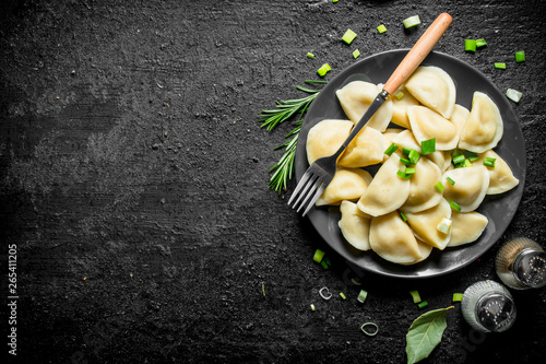 Dumplings with spices, rosemary and green onions. Canvas Print