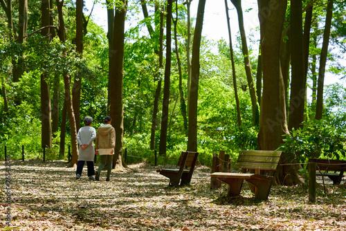 Photo  ベンチと親子_森林公園