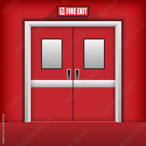Fire Exit Door. Vector Illustration Wall mural