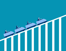 Roller Coaster Economy. Concept Business Vector Illustration. Teamwork, Upwards.