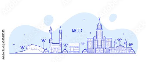 Mecca Makkah skyline Saudi Arabia big city vector Canvas Print