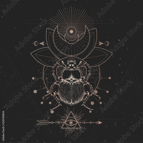 Fototapety, obrazy: Vector illustration with hand drawn Scarab and Sacred geometric symbol on black vintage background. Abstract mystic sign.