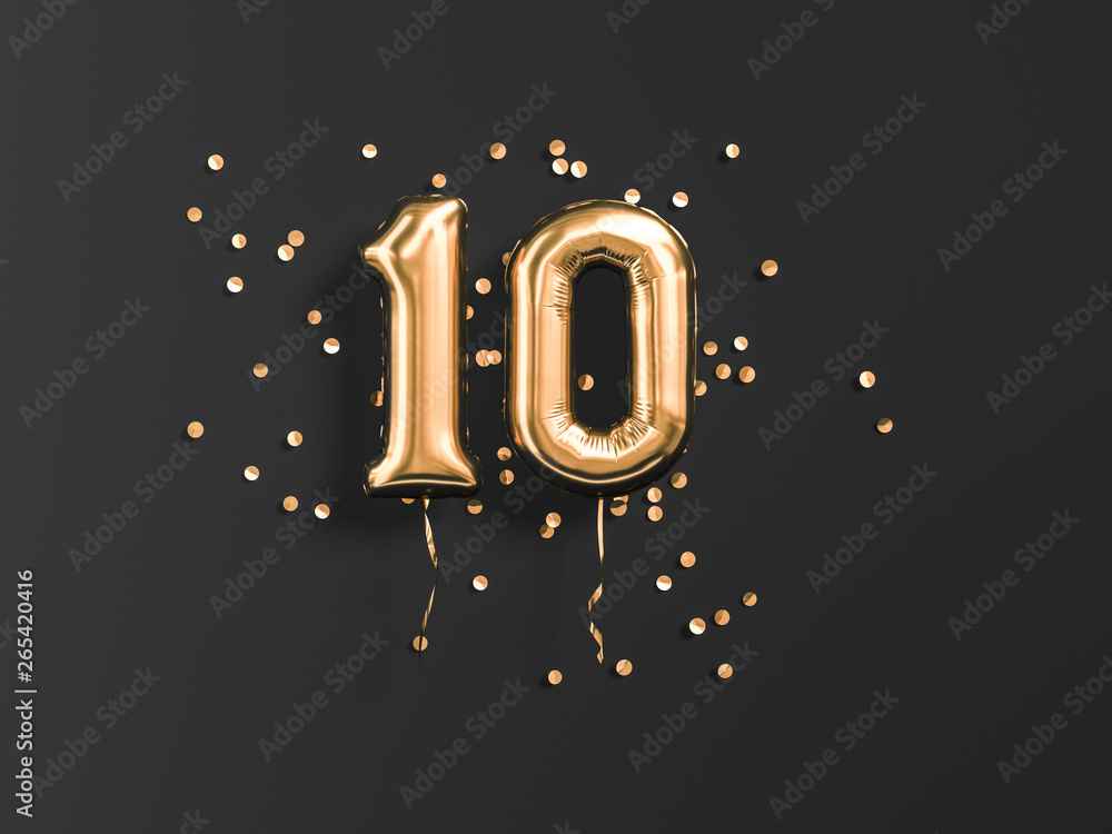Fototapety, obrazy: 10 years old. Gold balloons number 10th anniversary, happy birthday congratulations. 3d rendering.