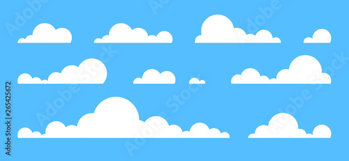 Foto op Plexiglas Hemel Clouds set isolated on a blue background. Simple cute cartoon design. Icon or logo collection. Realistic elements. Flat style vector illustration.